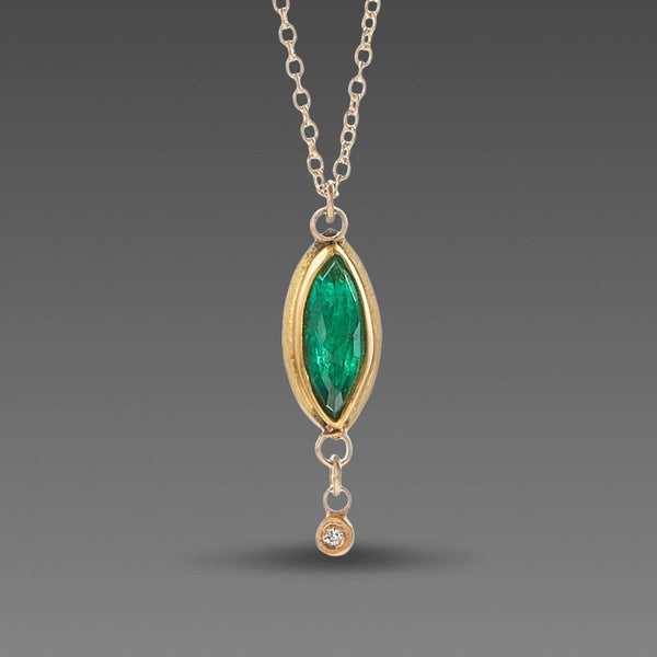 Marquise Emerald Necklace with Diamond Drop