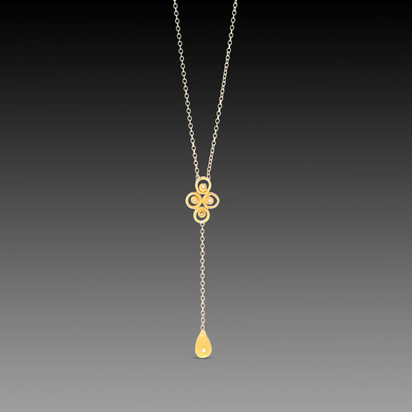 Filigree Necklace with Diamond Drop