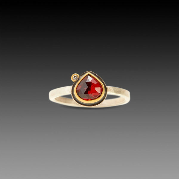 Garnet Teardrop Ring with Diamond