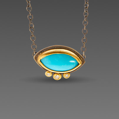 Marquise Turquoise Necklace with Diamonds