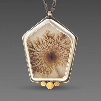 Dendritic Agate Necklace with Three Gold Dots
