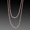 Long Tourmaline Necklace with Mixed Gold Beads