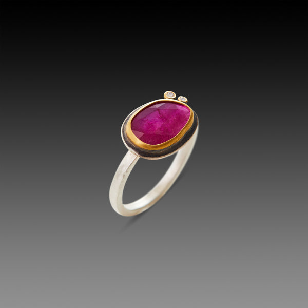 Organic Rose Cut Ruby Ring with Diamonds