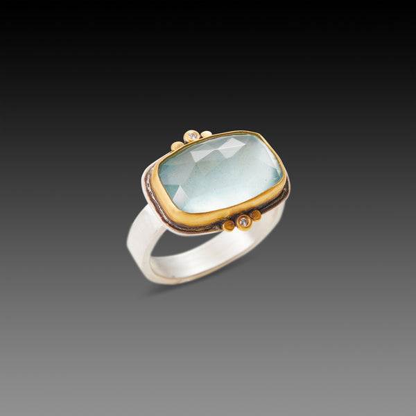 Rose Cut Aquamarine Ring with Diamond Trios