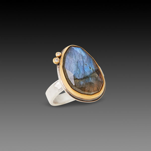 Labradorite Ring with Diamonds