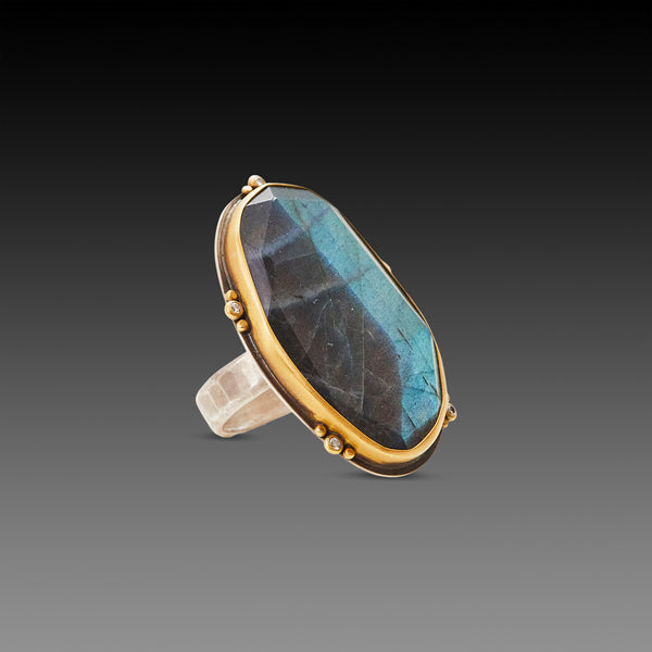 Labradorite Statement Ring with Diamond Trios