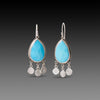 Turquoise Teardrop Earrings with Silver Fringe