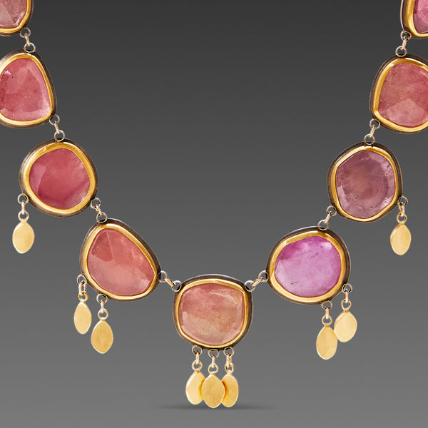 Pink Sapphire Necklace with 22k Gold Fringe