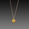 Hammered Gold Disk Necklace with Diamonds