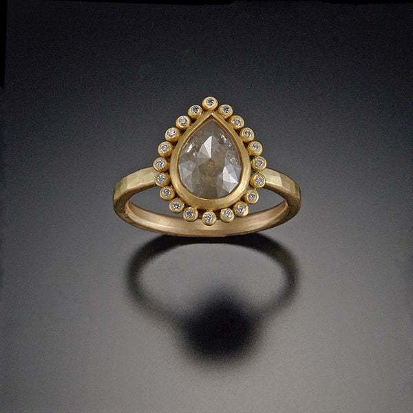 Teardrop Diamond Ring with Diamond Halo