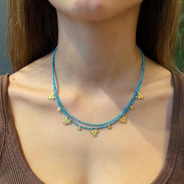 Turquoise Bead Necklace with 22k Filigree Trios