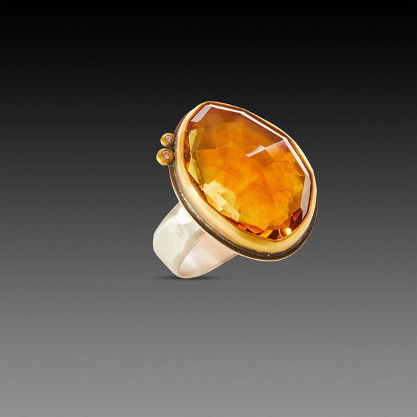 Citrine Ring with Diamond Dots