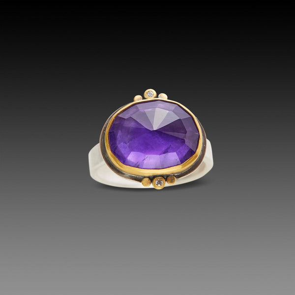 Amethyst Ring with Gold Trios and Diamonds