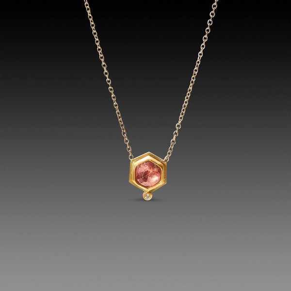 Pink Sapphire Necklace with Diamond