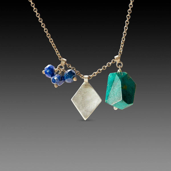 Chrysocolla and Lapis with Hammered Charm Necklace