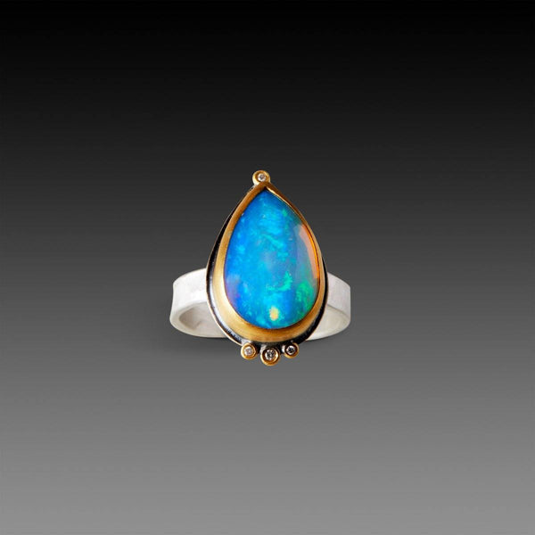 Teardrop Ethiopian Opal Ring With Diamonds