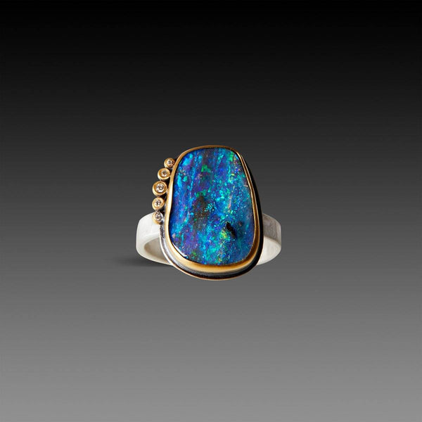 Organic Australian Boulder Opal Ring with Five Diamonds