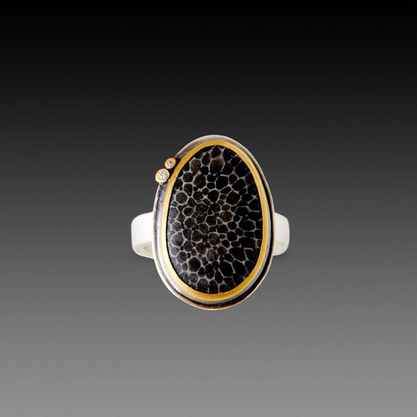 Bryozoan Coral Fossil Ring with Two Diamonds