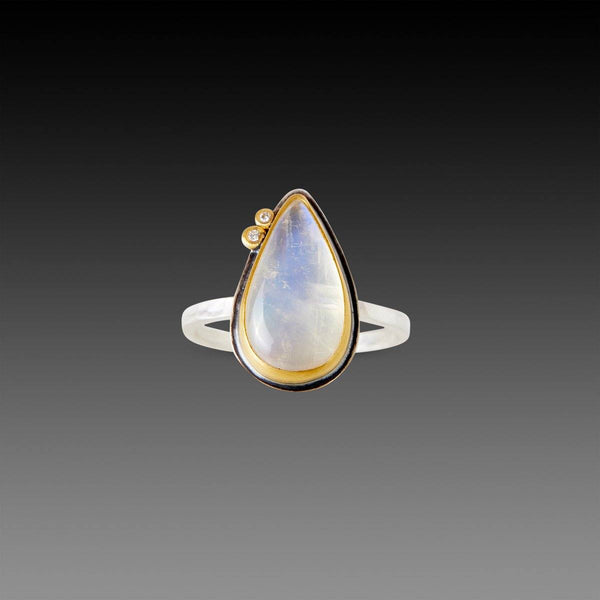 Teardrop Rainbow Moonstone Ring with Two Diamonds
