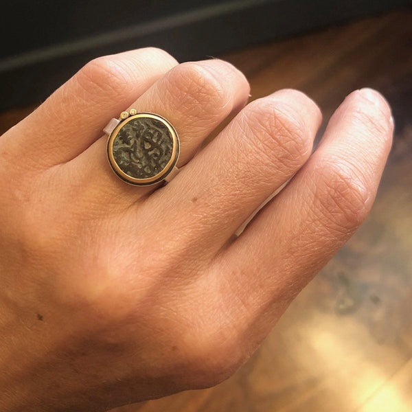 Ancient Indian Coin Ring with Two Diamonds
