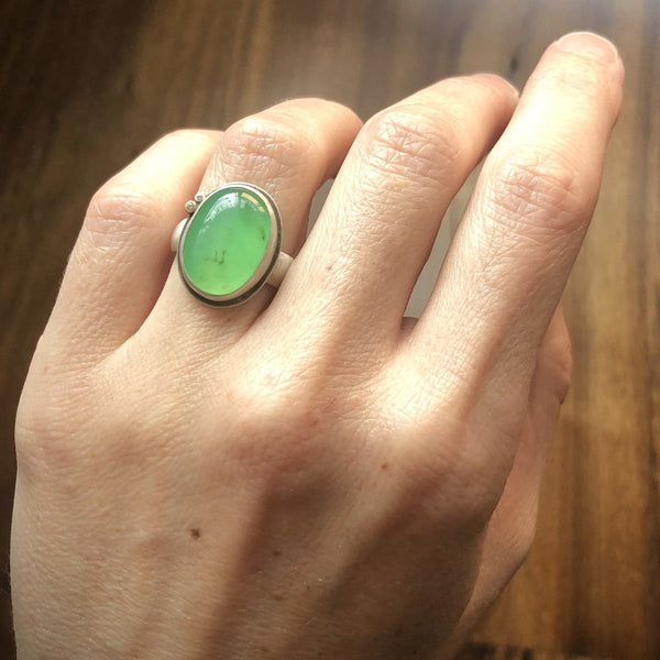 Chrysoprase Ring with Diamond Dots