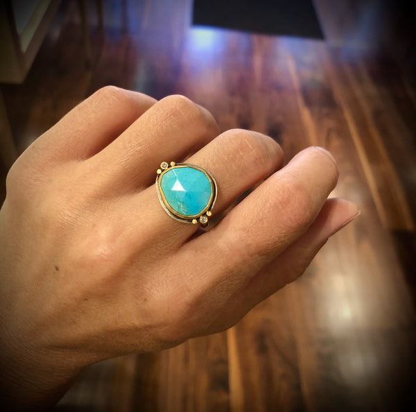 Faceted Turquoise Ring with Diamonds