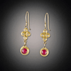 Raised Diamond Dots and Ruby Earrings