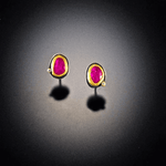 Ruby with Diamond Dot Stud Earrings