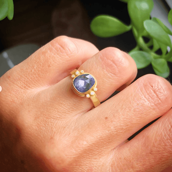 Organic Blue Sapphire Ring with Two Diamond Trios