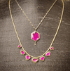 Ruby Hexagon Necklace with Diamond Drop