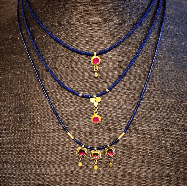 Delicate Lapis and Ruby Necklace