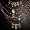 Five Pink Sapphires with Labradorite Beaded Necklace