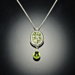 Tiny Oval Spring Maple Necklace with Peridot Drop