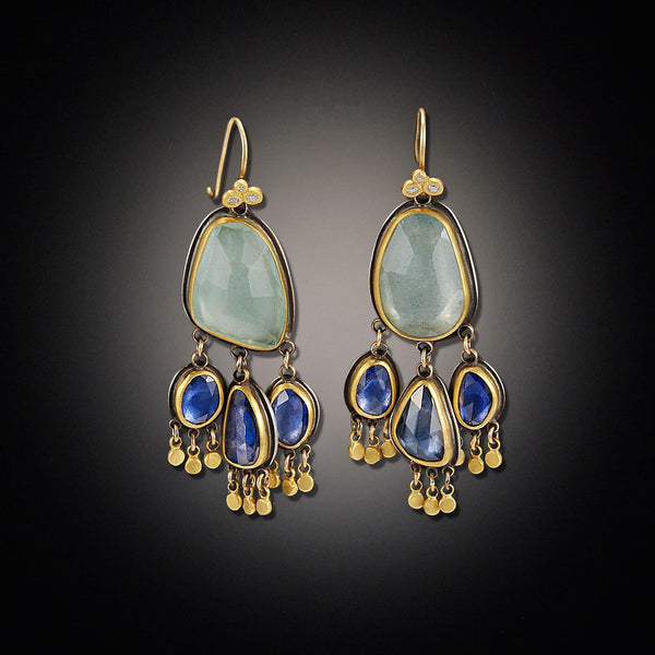 Aquamarine and Sapphire Chandelier Earrings
