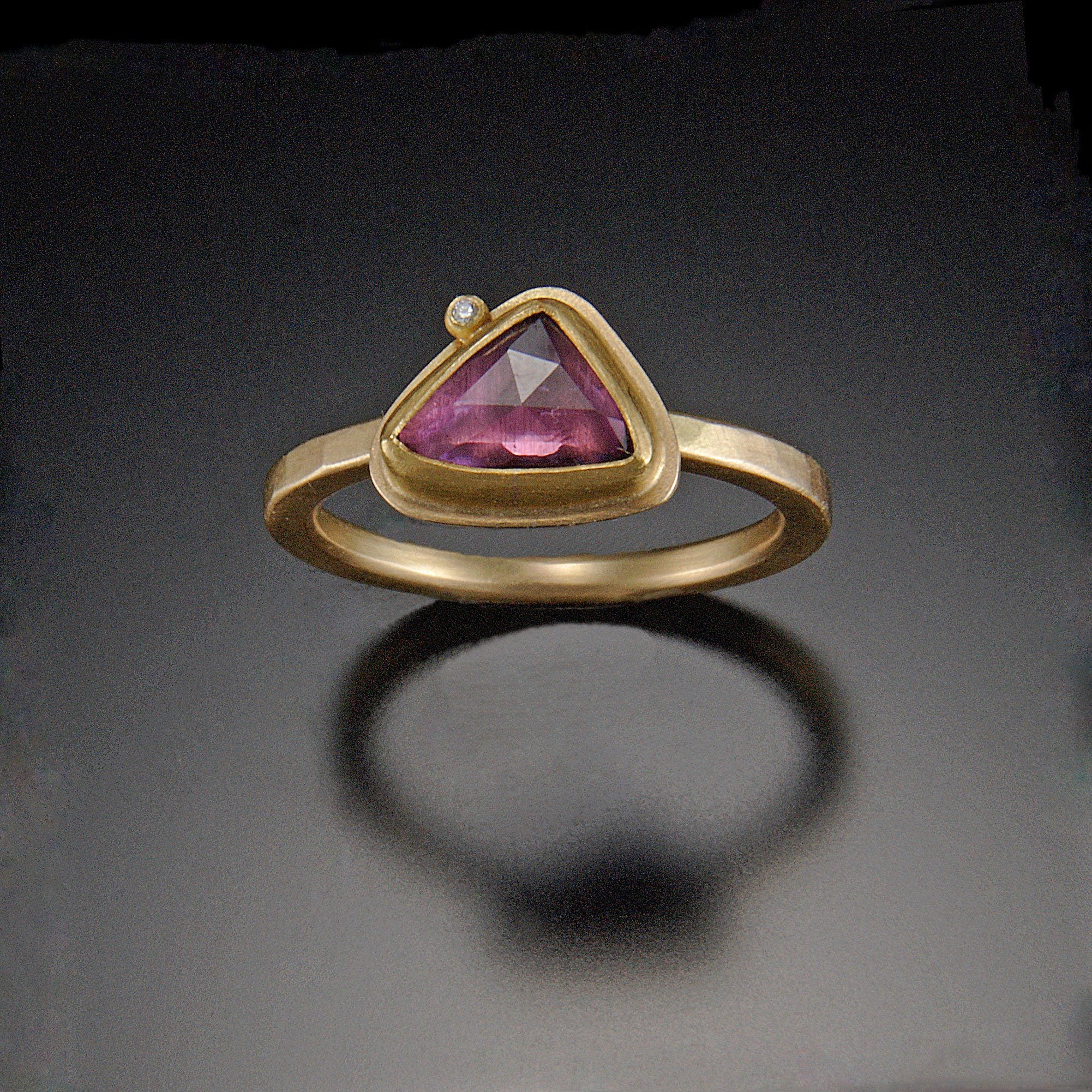 Rose Cut Pink Sapphire Ring With Diamond