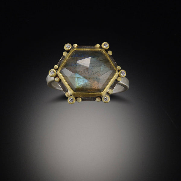 Geometric Labradorite Ring with Diamonds