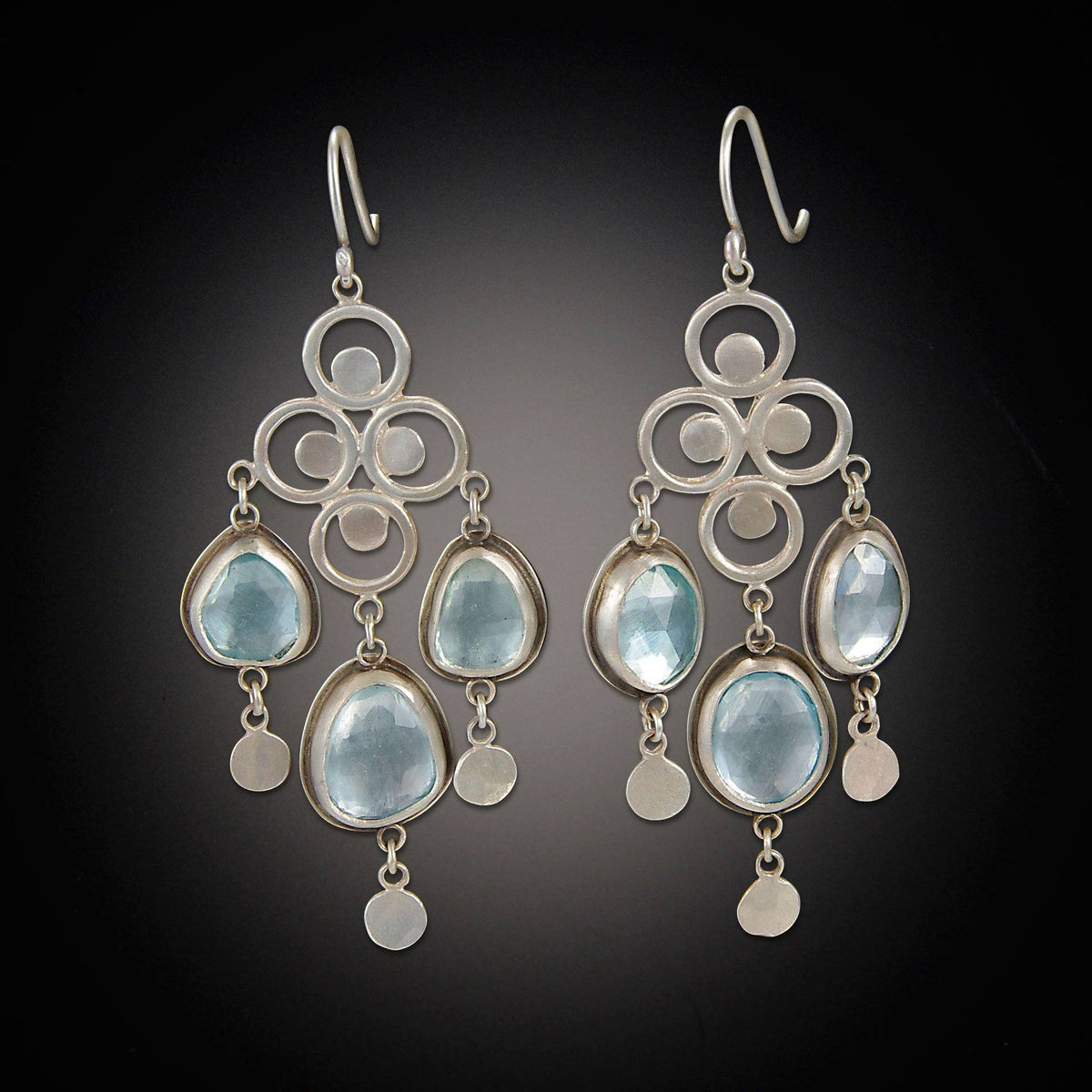 Large filigree chandelier earrings with rose cut blue topaz aloadofball Image collections