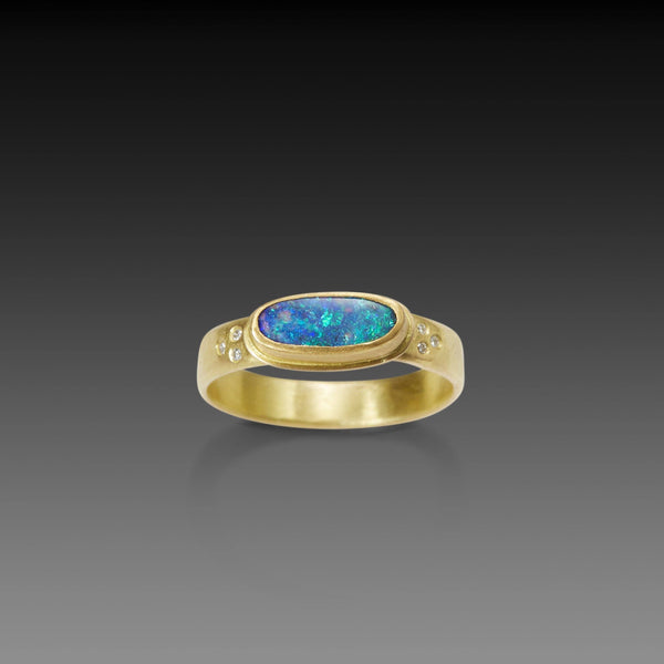 Australian Boulder Opal Ring with Six Diamond Band