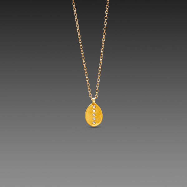 Oval Leaf Necklace with Five Diamonds