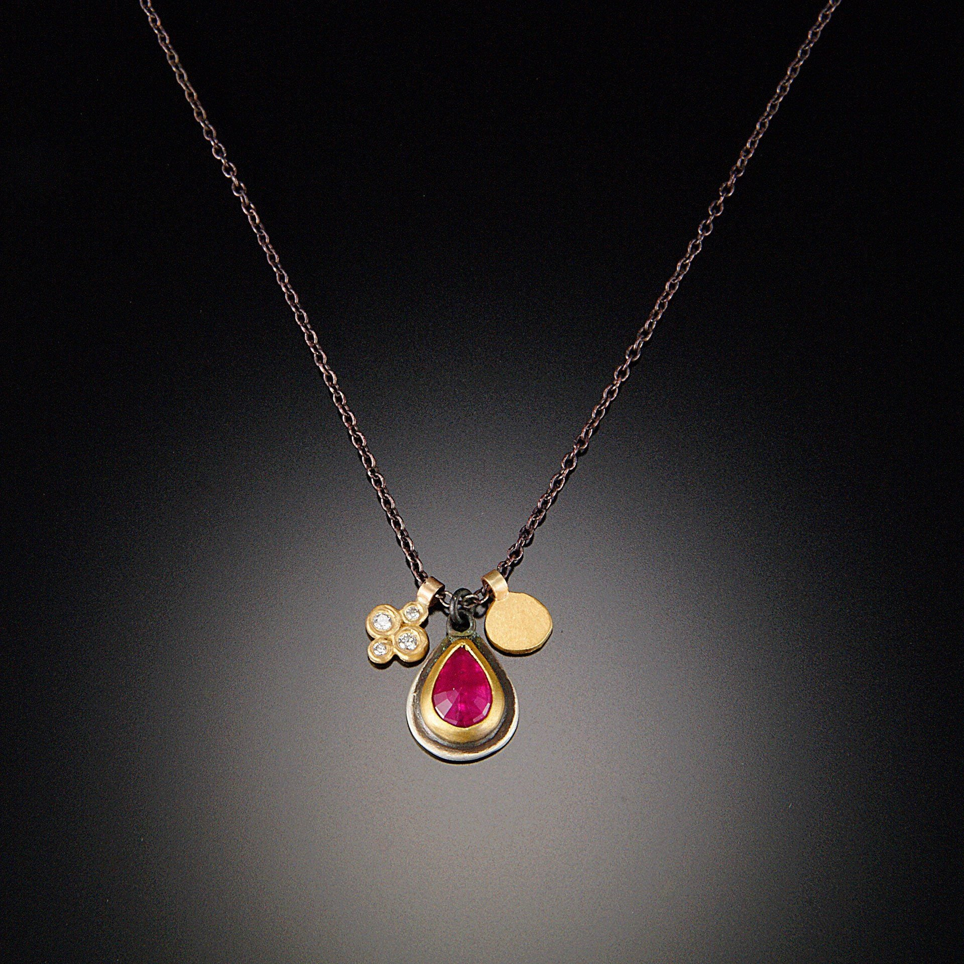 Rose Cut Ruby Charm Necklace with Diamonds