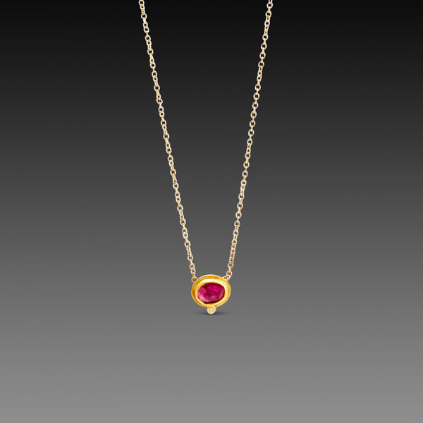 Floating Ruby Necklace with Diamond Dot
