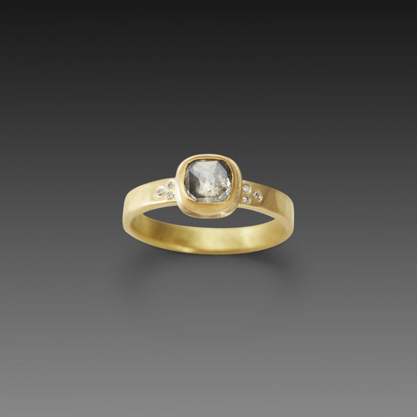 Square Rose Cut Diamond Ring with Diamond Band