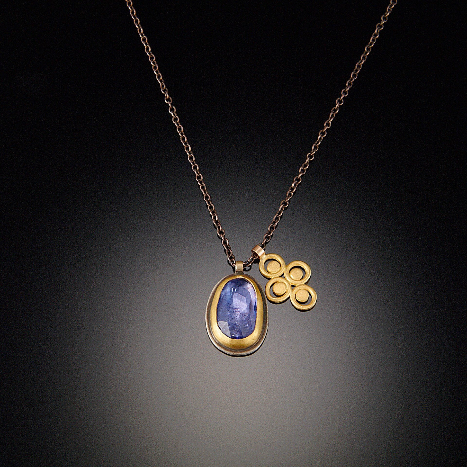 Tanzanite and 22k Gold Filigree Necklace