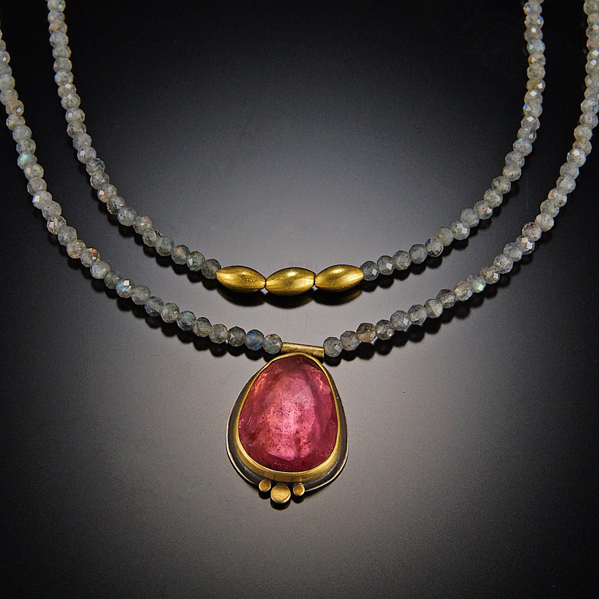 Pink Tourmaline and Labradorite Beaded Necklace