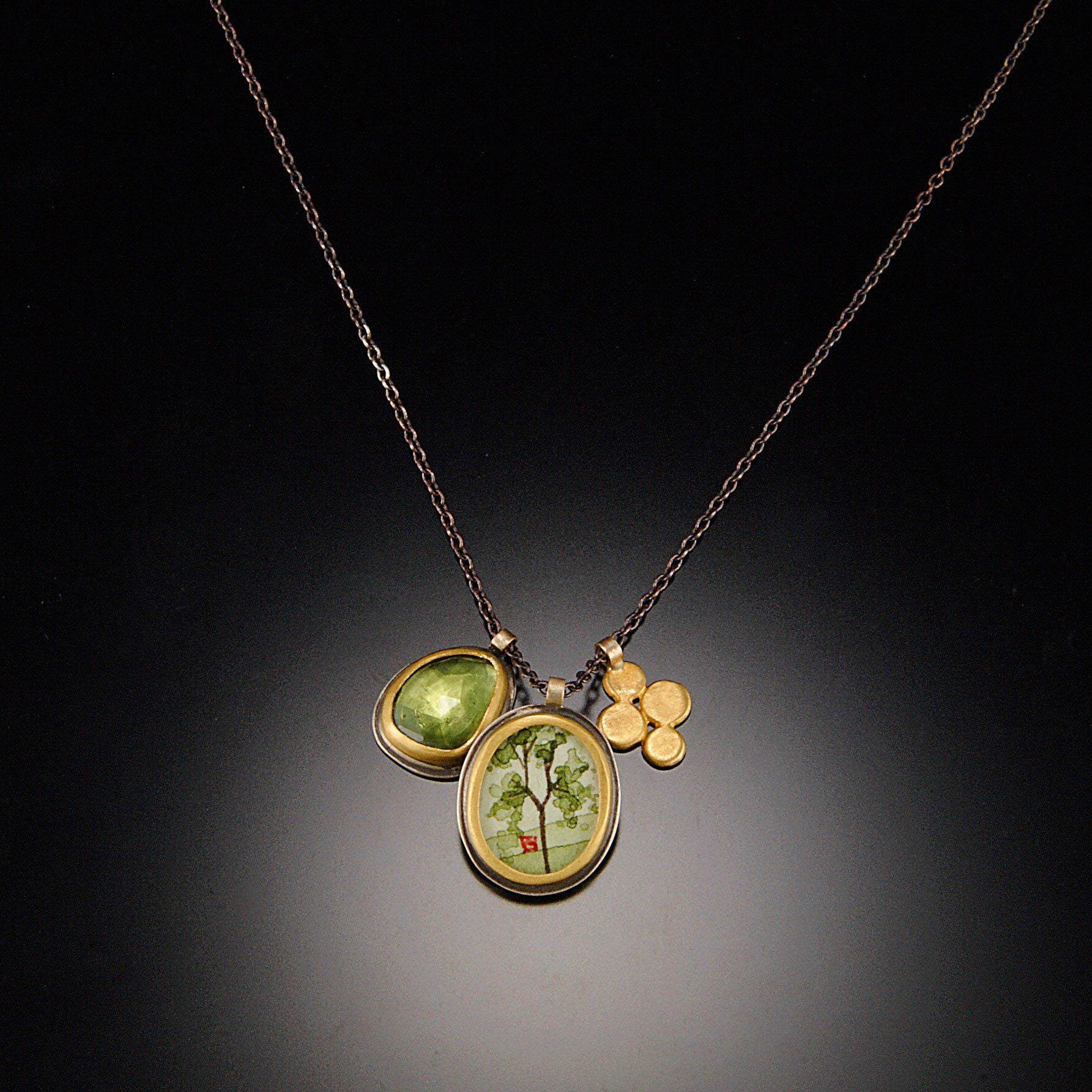 Spring Maple Charm necklace with Vesuvianite