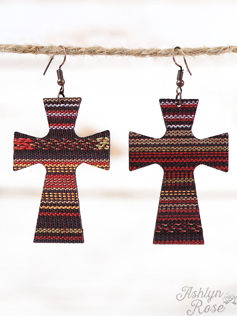 Serape Leather Cross Earrings