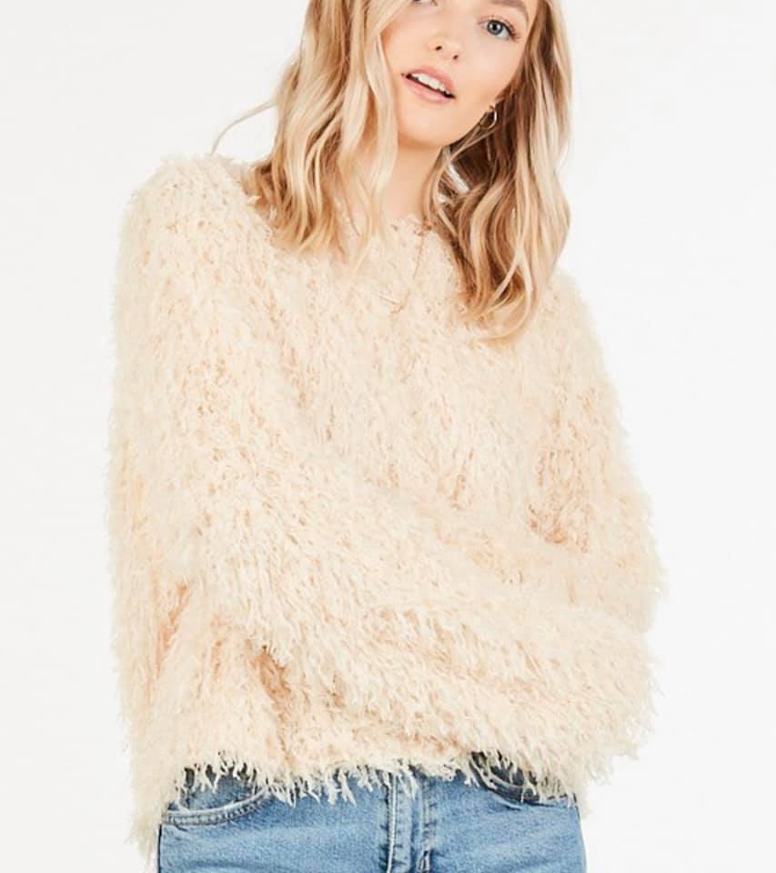 Feathered Fringe Cream Sweater
