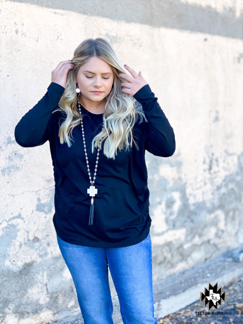 Black Ruched Long Sleeve Top - The Tillie Rose Boutique