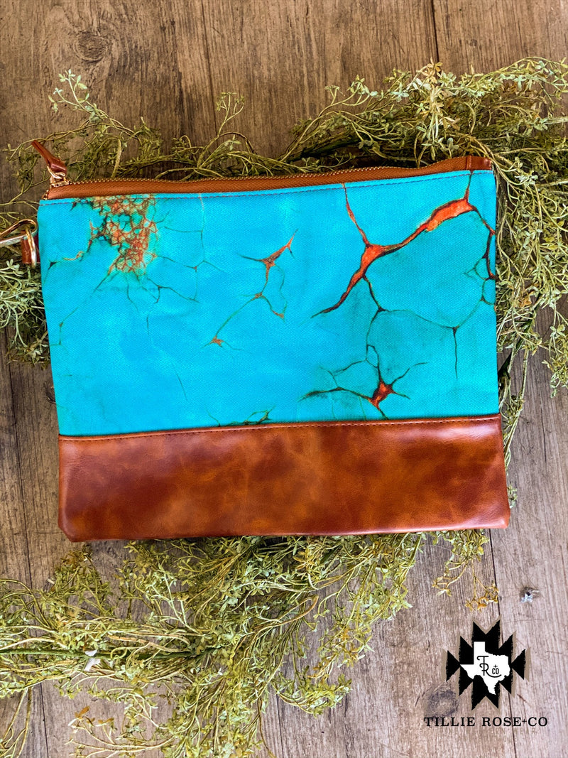 Turquoise Stone Clutch/Cosmetic Bag - The Tillie Rose Boutique