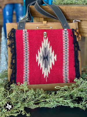Red Saddle Blanket Leather Daily Tote - The Tillie Rose Boutique